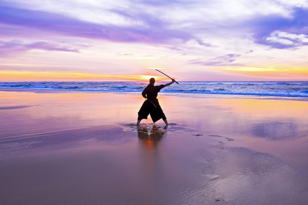 samurai on the beach